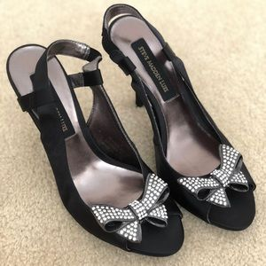 NEW Black satin SM peep toe heels with metal bow